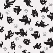 dogs seamless pattern - stock illustration