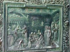 Pisa - duomo.  elaborate door of bronze by pisano Stock Photos
