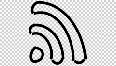 Wifi signal line drawing illustration animation with transparent background Stock Footage