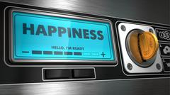 Happiness on Display of Vending Machine. Stock Illustration