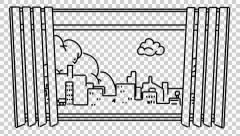Window line drawing illustration animation with transparent background Stock Footage
