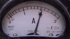 Close up view of Ammeter measuring current Stock Footage