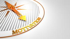 Motivation on White with Golden Compass. - stock illustration