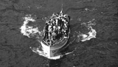 Dinghy at sea, 1930s - stock footage
