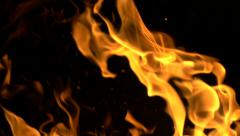 Stock Footage Fire Flames and Sparks on Black Slow Motion - stock footage