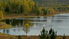 Stock Footage Mountain Lake and Snowy Peaks in Autumn Stock Footage