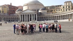 Group of tourists in Plebiscito square in Naples Stock Footage