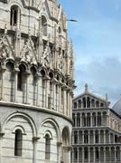 pisa - baptistery  and duomo in the piazza dei miracoli - stock photo