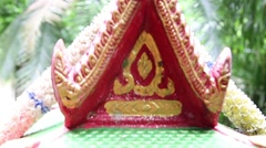 Small temple model with dolls for buddha respect at home Stock Footage