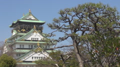 Beautiful Osaka Castle tree branch landmark Japan tourism attraction sunny day Stock Footage