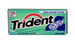 trident mint chewing gum - stock photo