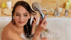 Young woman take bubble  bath. Stock Footage