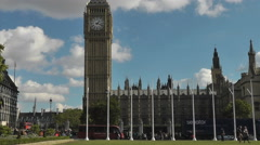 Timelapse Traffic Big Ben and clouds across Parliament square London Stock Footage