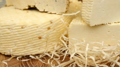 Different types of cheese on the table Stock Footage