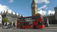 London Big Ben Houses of Parliament Traffic and People outside westminster Stock Footage