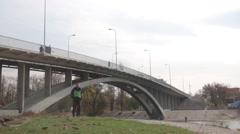 Kyiv. Hydropark. The bridge over the Bay of the Dnieper Stock Footage