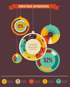 Christmas infographic set with data elements Stock Illustration