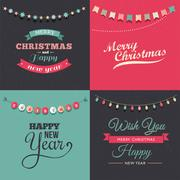 Vintage Christmas design with garlands - stock illustration