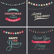 Vintage Christmas design with garlands Stock Illustration