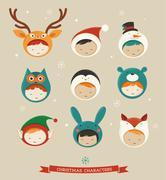 Stock Illustration of Christmas kids icons - deer, bear, fox