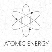 Atom illustration over seamless atoms background Stock Illustration