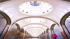 4k timelapse view of Mayakovskaya subway station. Stock Footage