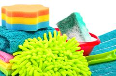 towels, sponge, microfiber, bowl, supplies for cleaning, houshold equipment - stock photo