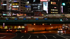 Train Passes over Bridge in Central Tokyo Japan at Night Stock Footage