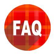 Stock Illustration of faq red flat icon isolated.