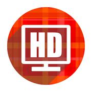 hd display red flat icon isolated. - stock illustration