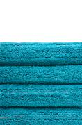 Stack of blue towels Stock Photos