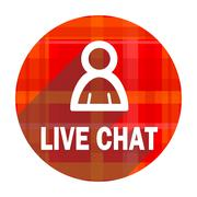 Live chat red flat icon isolated. Stock Illustration