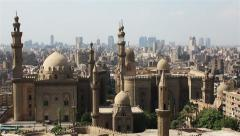 Views across Cairo from the Citadel. Mosque of Sultan Hassan. - stock footage