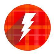 bolt red flat icon isolated.. - stock illustration