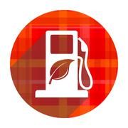 Biofuel red flat icon isolated. Stock Illustration