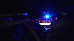 Police crime scene at night Stock Footage