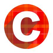 Copyright red flat icon isolated. Stock Illustration