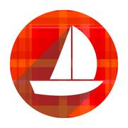 Stock Illustration of yacht red flat icon isolated.