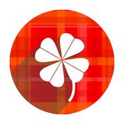 four-leaf clover red flat icon isolated. - stock illustration