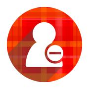 remove contact red flat icon isolated. - stock illustration