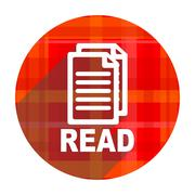 Read red flat icon isolated. Stock Illustration