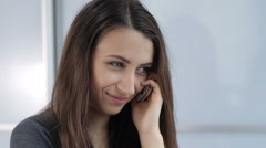 Woman Talking on the Phone and Smiling Stock Footage