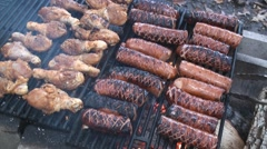 Scorching polish sausages and chicken drumsticks on the fire pit's grill 4 - stock footage