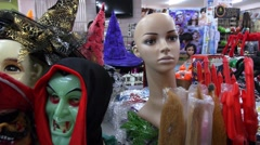 Horrify Halloween Masks in a Shop. Carnival Halloween Celebration. Stock Footage