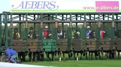 4k Closeup Horse Racing start scene Stock Footage