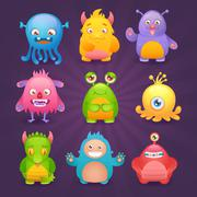 Cute monsters set Stock Illustration