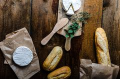 camembert, soft cheese with homemade pastries - stock photo