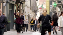 People walking down the main city street 4K Stock Footage