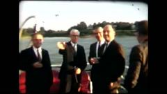 Businessmen on boatride (vintage 8mm home movies) Stock Footage