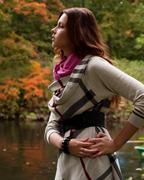 Woman  near the river in autumn season Stock Photos